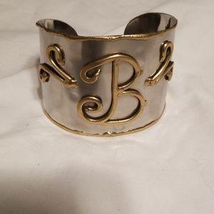 "Jewelry - Wide  Monogram Initial ""B"" Cuff Bracelet"